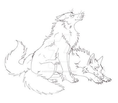 Song Wolf Line Art by CaptainMorwen