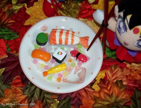 Close Up of Sushi Plate by IttyFox6