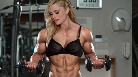 Big female bodybuilder pumping weights by edinaus