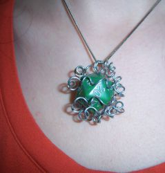 Wire Wrapped Green Bubbly D20 Pendant by soupisgreen