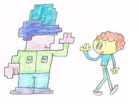 Colored Neighbors 7 - Square Man and Yellow Woman by thecrazyworldofjack