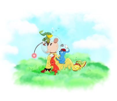 Olimar with some Pikmin by Yumesky