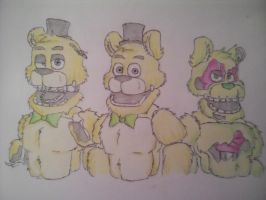 A Withered and Spring version of Fredbear (gift) by xXShadowTiger20Xx