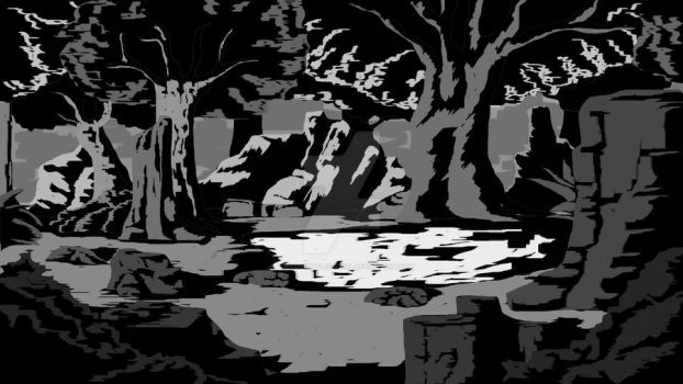 forest pond gray scale by FortunsWitlessFool
