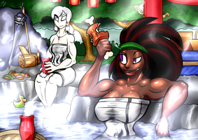 Commission - Hot Spring Hunters (Towel Version) by grayscalerain
