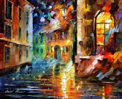 Old city by Leonid Afremov by Leonidafremov