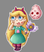 Chibi Star Butterfly And Igglybuff by SaltyToffee