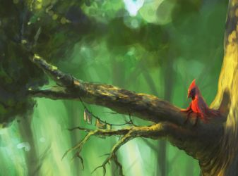 Summer forest WIP -closeup- by Tigzz