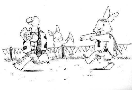 Inktober 2017 03 - The Tortoise and the Zombunny by Vineris