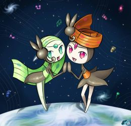 Double Meloetta in Space by MellowMeloetta