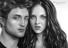 Robert Pattinson and Kristen Stewart by kansineedegraefart