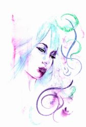 Contemplation in watercolor by DW Miller by ConceptsByMiller