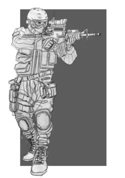 Soldier sketch 01 by Salvaratty