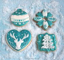Cookies: Teal Christmas by ginkgografix
