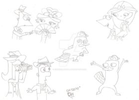 PnF and the Temple of Juatchadoon sketches by CinderellaBella