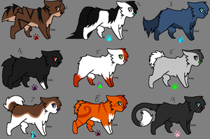 Free Adoptables batch 1 (Closed) by Kitty-of-Doom524