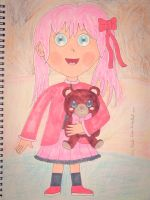 Cute Little Girl and Bear by Mr-Pink-Rose