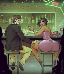 Ace and Violet at the bar by devilhs