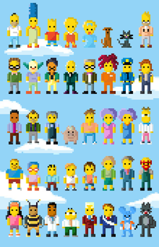 Simpsons Characters 8 Bit EXTENDED by LustriousCharming
