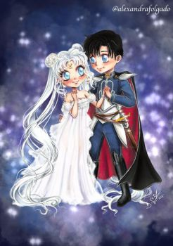 Chibi Princess Serenity and prince Endymion by AlexandraFolgado