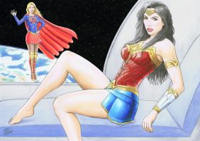 WONDER WOMAN and SUPERGIRL by TIAGO-FERNANDES
