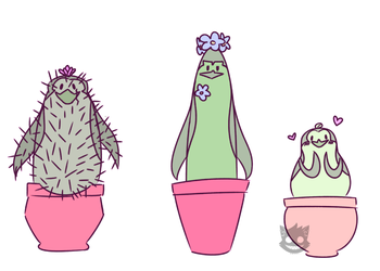Plant Penguins by XaxxyTheCat