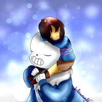 Sans and Frisk by WeepyKing