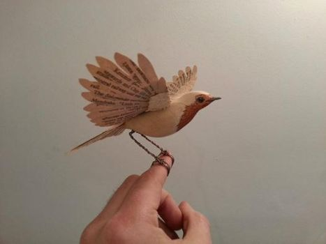 Handmade vintage paper and wood Robin by ZackMclaughlin