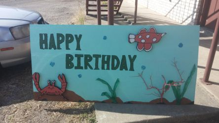Birthday sign made from wood. by vacskgreen