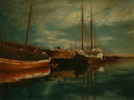 The boats at Aker harbour by IT-Hammar
