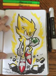 Inktober Day 7 - Super Sonic by SupaCrikeyDave