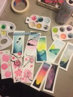 Watercolor Bookmarks by pinkielora