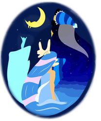 Moon and Sea by ray-of-flight