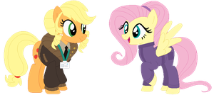 AU- Fluttershy and Applejack by Bezziie