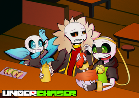 .:UNDERCHASER:. At Grillby's by CyaneWorks