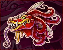 Quetzalcoatl Head by zillabean