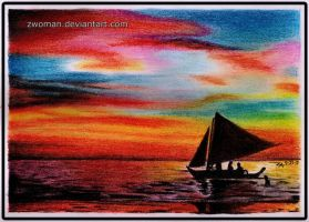 sunset sailing by zwoman