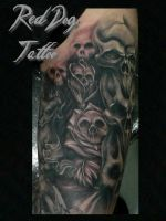 Wayne Skulls Tattoo by Reddogtattoo