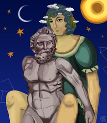 Atlas and Earth-chan by AndroJuniarto