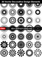 35 Vector Decorative Design Elements by 123freevectors