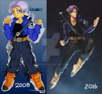 Art Improvement: Future Trunks. 2008 vs 2016 by Gintijd