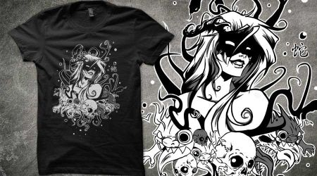 Qwertee Monster Girl by Bubblecat