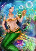 The mermaid with blue hair by Avistic