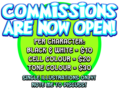 2017 Commissions Open by curtsibling
