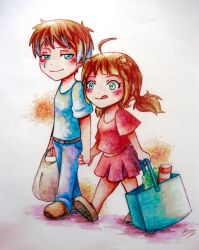 Going to buy food by Poucet
