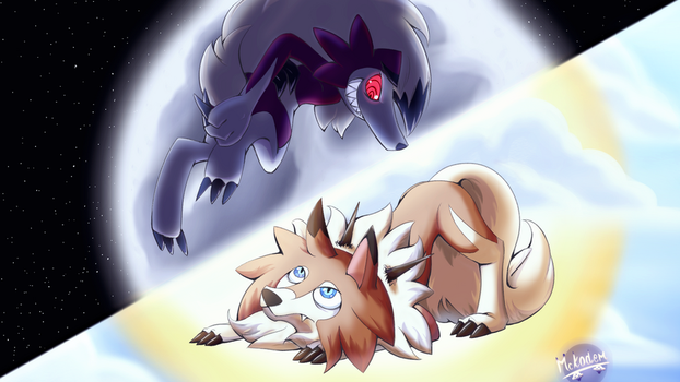 Lycanroc's night and day by Mckodem