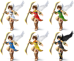 Pit SSB4 Recolors by shadowgarion