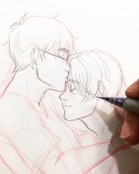 Victuuri forehead kiss by URESHI-SAN