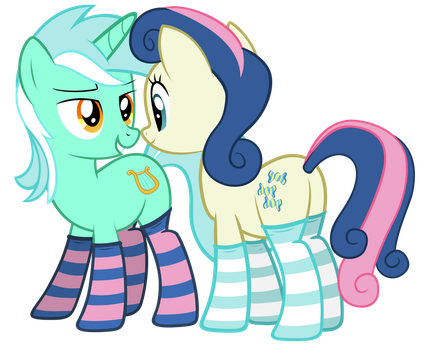 Lyra and Bon bon in sockies by FluffyTuli