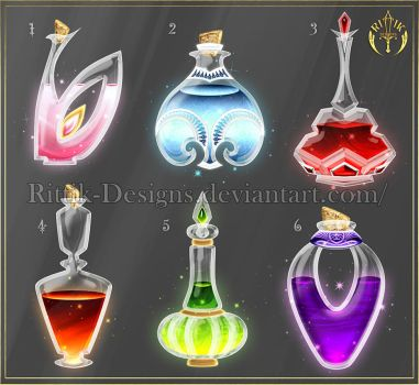 Potion set 2 (CLOSED) by Rittik-Designs